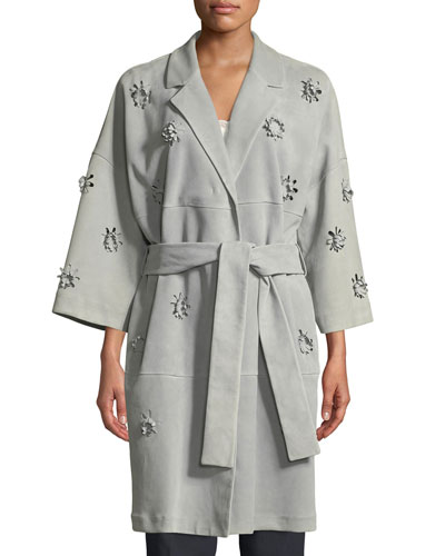 3-D Floral Belted Suede Trench Coat