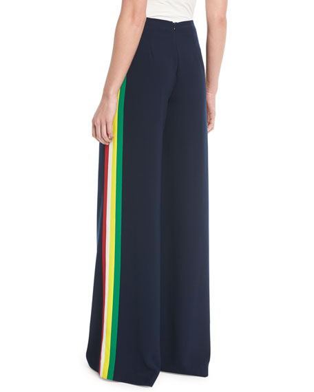 Daria Wide-Leg Crepe Cady Pants w/ Side Stripes