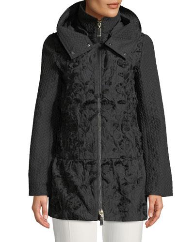 Fringe Embroidered Hooded Mixed-Media Anorak Jacket