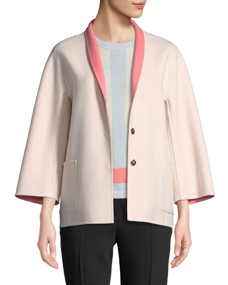 Escada Snap-Front Long-Sleeve Reversible Wool-Cashmere Coat and