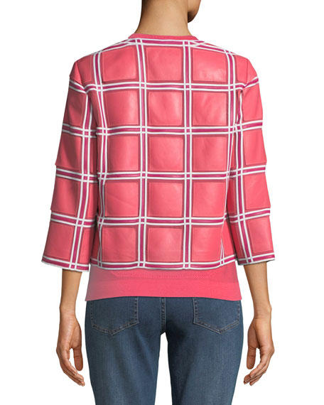 Grid-Pattern 3/4-Sleeve Snap-Front Leather Jacket