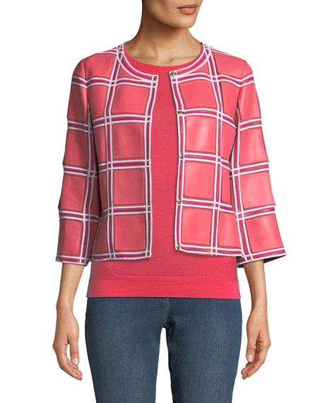 Escada Grid-Pattern 3/4-Sleeve Snap-Front Leather Jacket