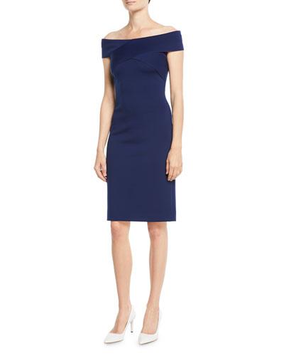 Promotion Austine Off-the-Shoulder Sheath Knee-Length Dress