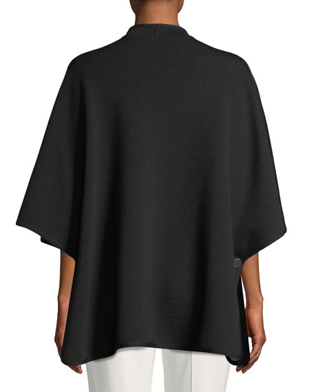 Open-Front 3/4-Sleeve Wool Cape w/ Logo Intarsia