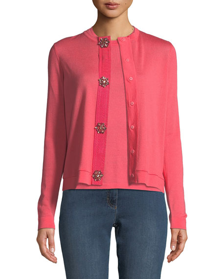 Jewel-Snap Long-Sleeve Wool Cardigan