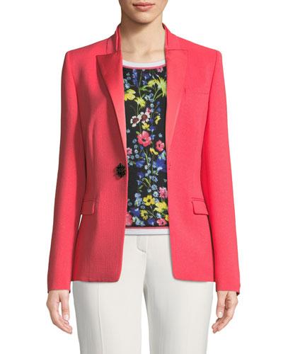 Satin Peak-Lapel Jewel-Button Wool Tuxedo Jacket