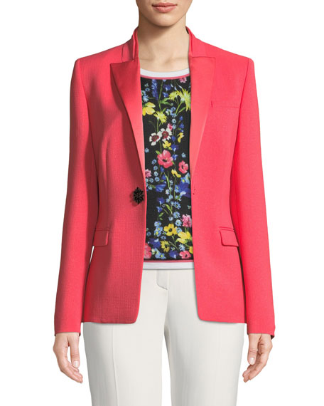 Escada Satin Peak-Lapel Jewel-Button Wool Tuxedo Jacket and