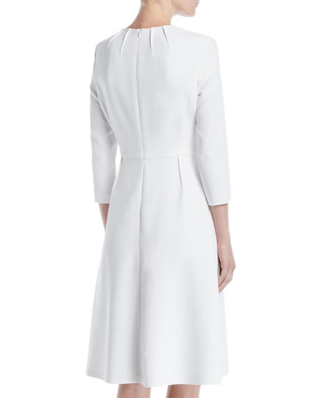 3/4-Sleeve Sun Pleat Neckline A-Line Dress