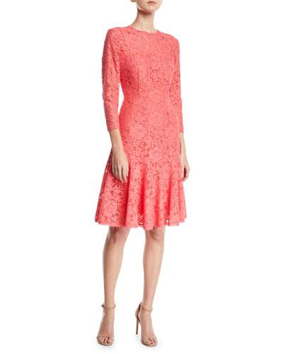 Long-Sleeve Tieback Lace Dress w/ Flounce Hem