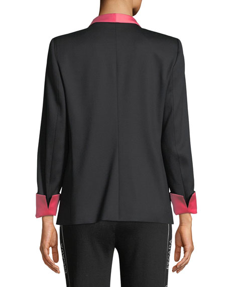 Jeweled One-Button Tux Jacket w/ Contrast Lapel & Cuffs