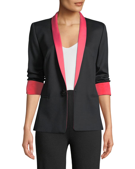 Escada Jeweled One-Button Tux Jacket w/ Contrast Lapel
