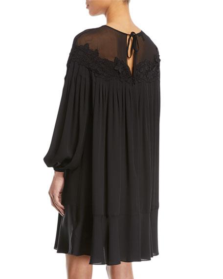 Long-Sleeve Silk Swing Dress w/ Floral Lace Yoke