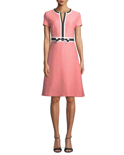 Short-Sleeve Fit-and-Flare Tweed Dress w/ Grosgrain Bow