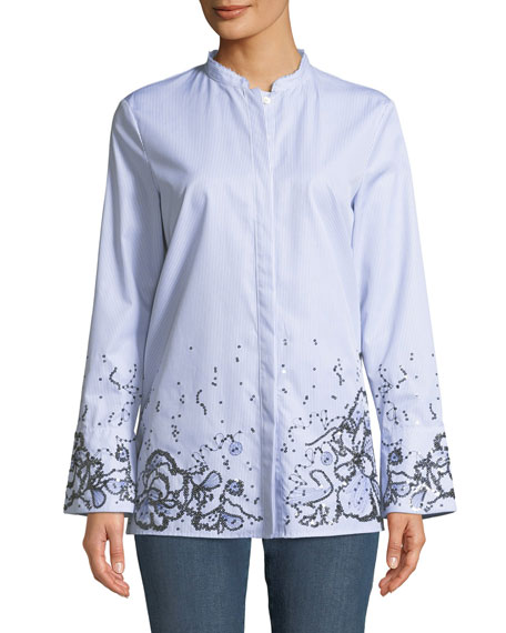 Striped Button-Down Cotton Shirt w/ Sequin Embellishment