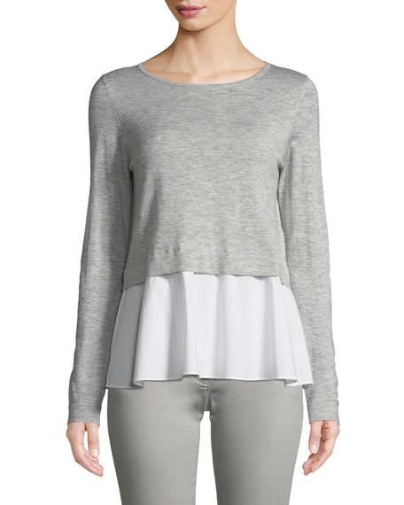 Long-Sleeve Pullover Top w/ Poplin Hem