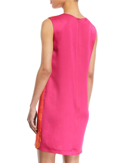 Sleeveless Orchid-Print Shift Dress