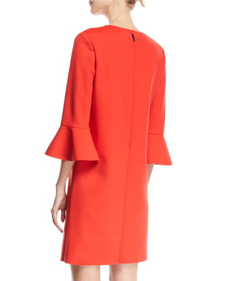 V-Neck 3/4 Bell-Sleeve Crepe Dress