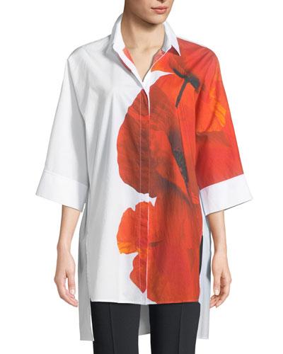 Orchid-Print 3/4-Sleeve Poplin Tunic