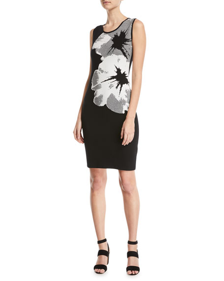 Sleeveless Orchid-Intarsia Knit Pullover Dress