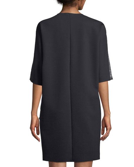 V-Neck Elbow-Sleeve Crepe Dress w/ Lace