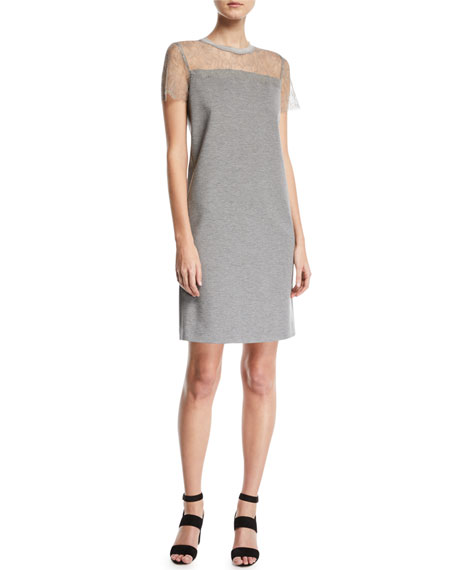 Short-Sleeve Jersey A-Line Dress w/ Lace Top