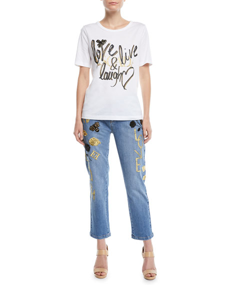 Love Live Laugh Straight-Leg Cropped Jeans