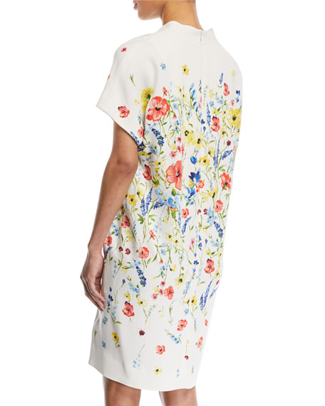 V-Neck Floral-Print Chemise A-Line Dress
