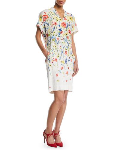 V-Neck Floral-Print Chemise A-Line Dress