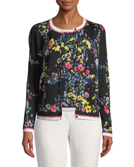 Floral Contrast-Trim Cardigan