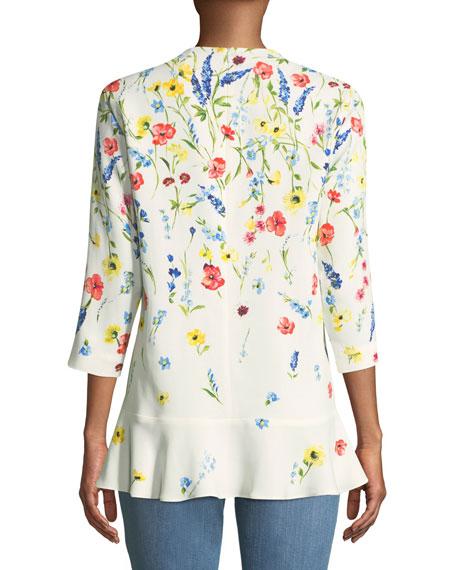 3/4-Sleeve V-Neck Floral-Print Top