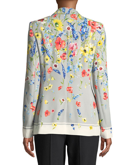 Notched-Collar One-Button Floral-Print Blazer