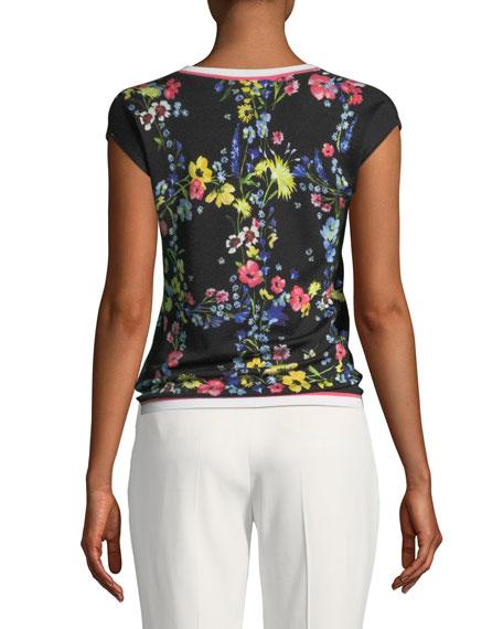 Floral Contrast-Trim Top