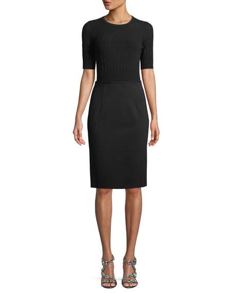 Short-Sleeve Knit Top Jersey Bottom Dress