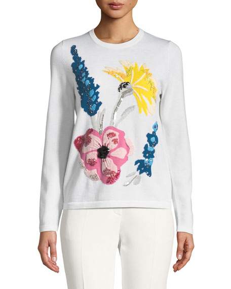 Escada Embroidered-Floral Virgin Wool Pullover Sweater and