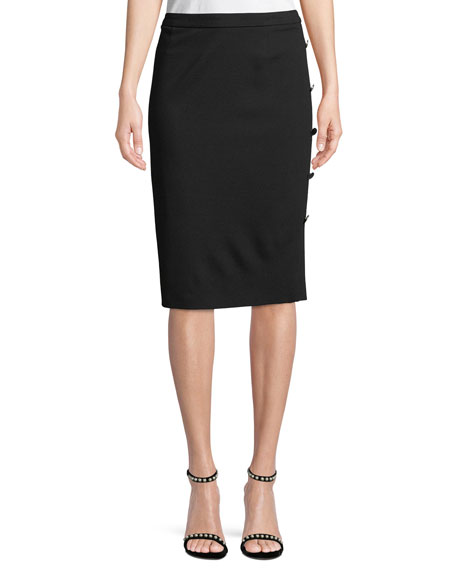 Pencil Jersey Skirt with Side-Button Details