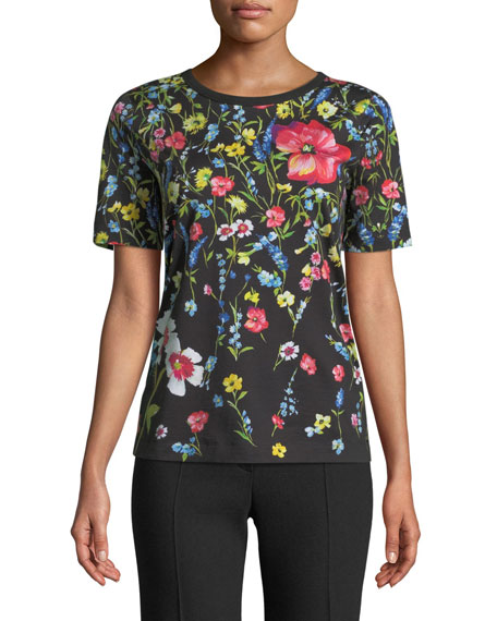 Short-Sleeve Floral-Print Cotton Tee