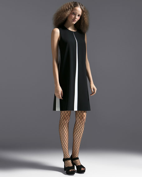 Sleeveless A-Line Chemise Dress w/ Insets