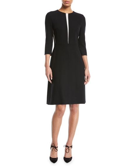 3/4-Sleeve Fit-and-Flare Wool-Blend Dress w/ Insets
