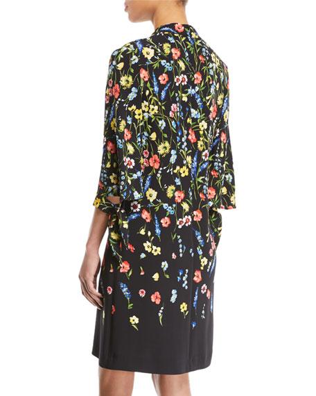 V-Neck 3/4-Sleeve Floral-Print Dress