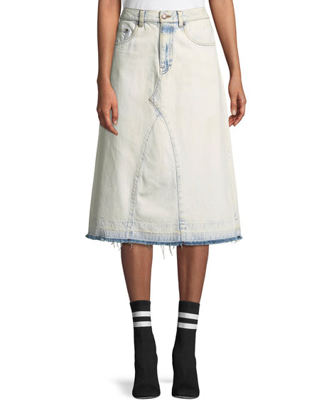 Marc Jacobs A-Line Denim Midi Skirt