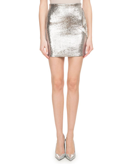Metallic-Coated Fitted Mini Skirt w/ Side Patch