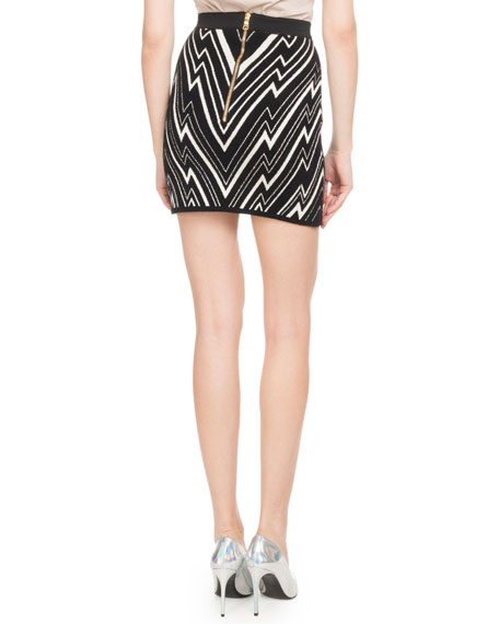 Chevron-Knit Fitted Mini Skirt