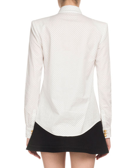 Dotted Poplin Long-Sleeve Button-Down Blouse