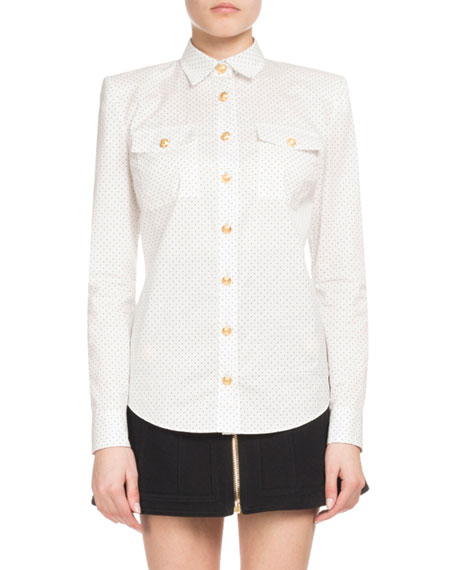 Balmain Dotted Poplin Long-Sleeve Button-Down Blouse and Matching