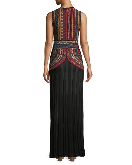 Intarsia Sleeveless Floor-Length Tank Dress