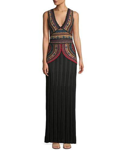Intarsia Sleeveless Floor-Length Tank Dress