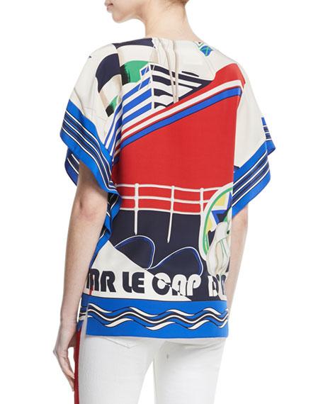 Corinna Cap d'Antibes Short-Sleeve Silk Top