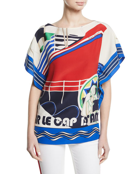Corinna Cap d'Antibes Short-Sleeve Silk Top