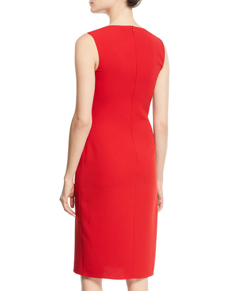 Laciann Sleeveless Drape-Front Crepe Cady Sheath Dress