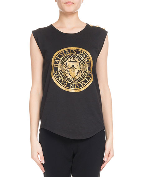 Sleeveless Glitter Coin Logo 3-Button Top